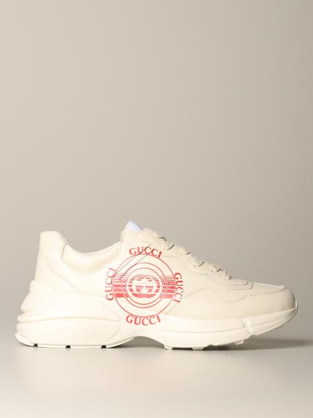 Rhyton Gucci sneakers with leather logo stamp