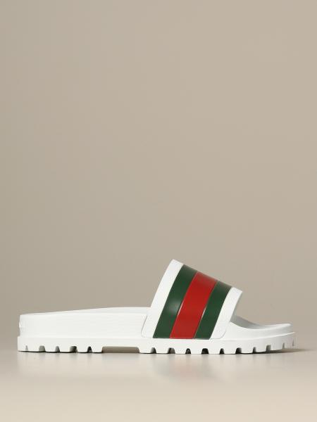 Gucci Web rubber slider sandals