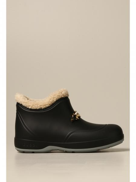 Gucci rubber ankle boots with GG clamp