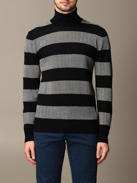 Giorgio Armani: Giorgio Armani turtleneck in cashmere and virgin wool with herringbone bands