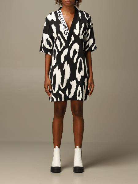 Just Cavalli v-shaped dress with animal print
