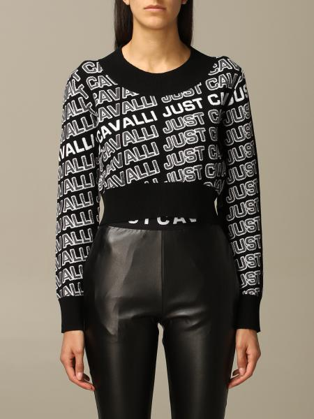 Pullover Just Cavalli cropped con logo all over