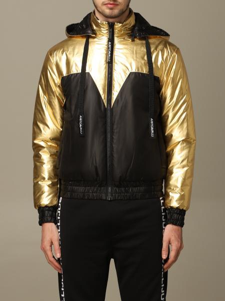 Piumino cappuccio staccabile bicolor oro reversibile nero