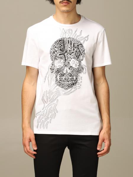 Just Cavalli t-shirt with skull and rhinestone print