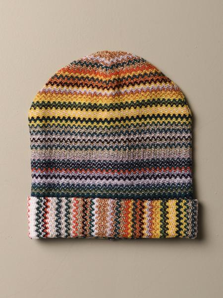Cappello Missoni in misto lana jacquard a multi righe lurex