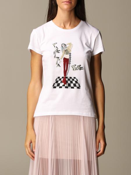 Patrizia Pepe: T-shirt Patrizia Pepe in cotone con ricamo e strass