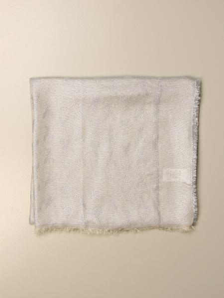 Patrizia Pepe lurex scarf with all-over Fly logo