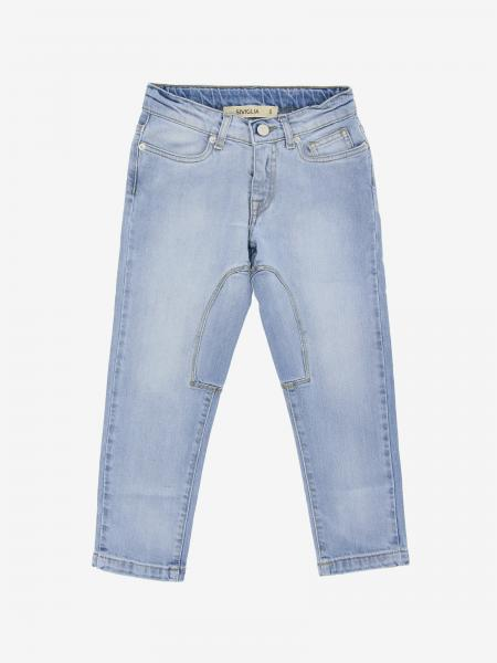 Jeans Siviglia in denim used con logo
