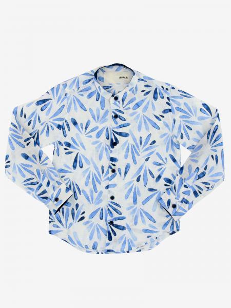 Siviglia shirt with patterned mandarin collar