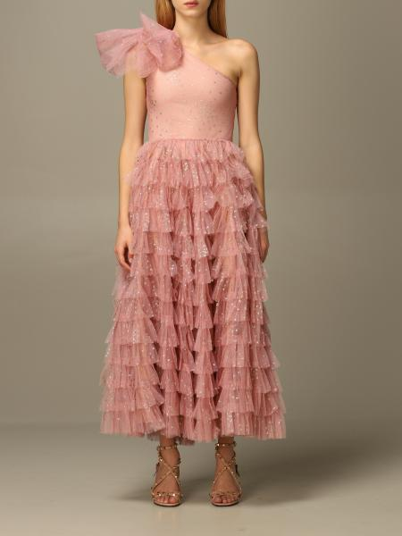 Red Valentino one-shoulder point d'esprit lurex dress