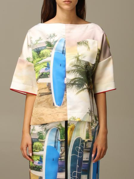 N ° 21 shirt with photographic surf print