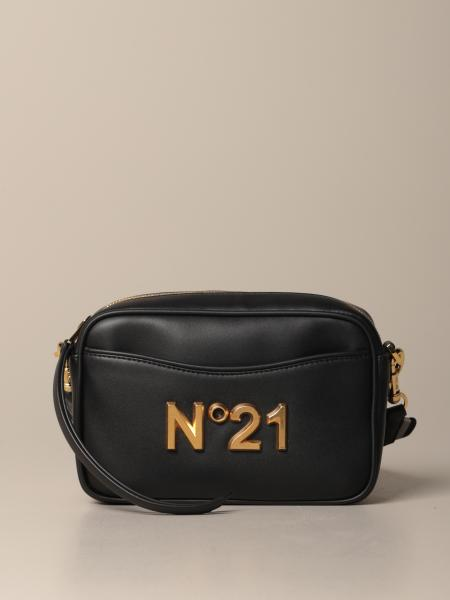 N ° 21 shoulder bag in leather with metallic logo