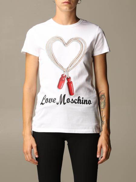 T-shirt Love Moschino in cotone con stampa corda