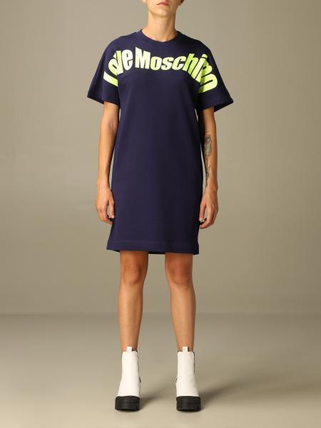 Abito a t-shirt Love Moschino in cotone con stampa logo