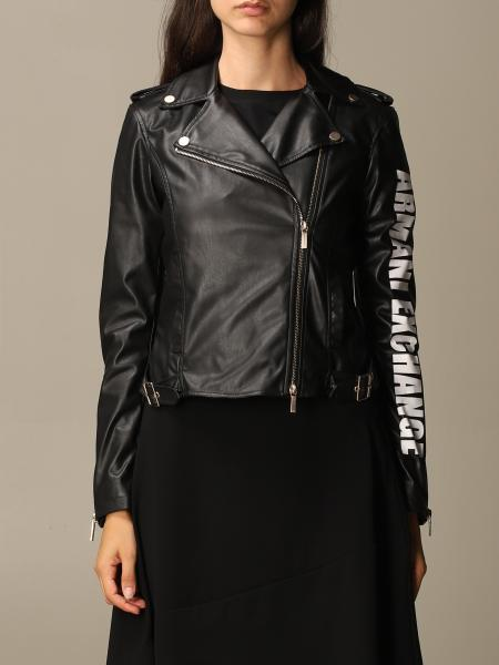Faux leather jacket with logo