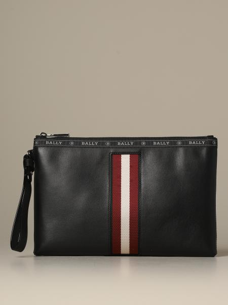 Hartland Bally clutch bag in leather with trainspotting canvas band