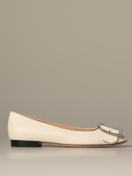 Jackie Bally ballet flat in leather with rhinestone buckle