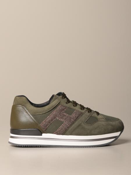 Sneakers H222 running Hogan in camoscio con H glitter