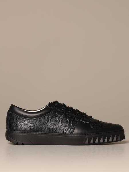 Salvatore Ferragamo men: Scuby Salvatore Ferragamo leather sneakers with Gancini logo