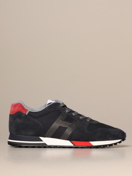 H383 Hogan running sneakers in split leather and two-tone mesh