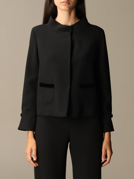 Emporio Armani classic jacket in crêpe and velvet