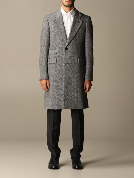 Emporio Armani single-breasted coat in chevron virgin wool blend