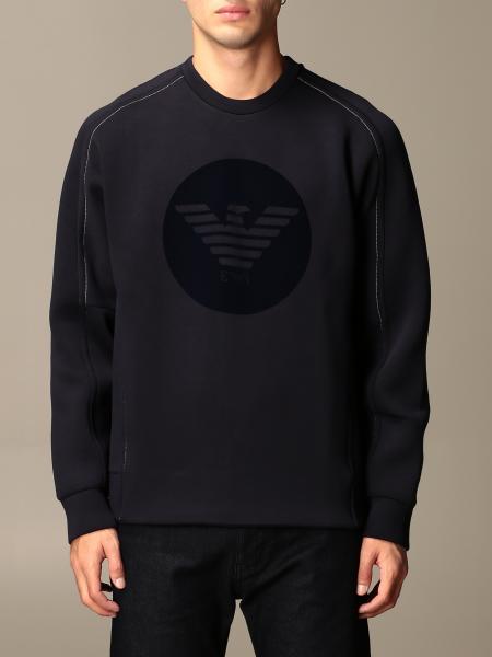 Felpa Emporio Armani in cotone con logo flock