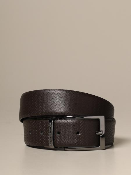 Cintura reversibile Emporio Armani in vitello liscio e con motivo chevron