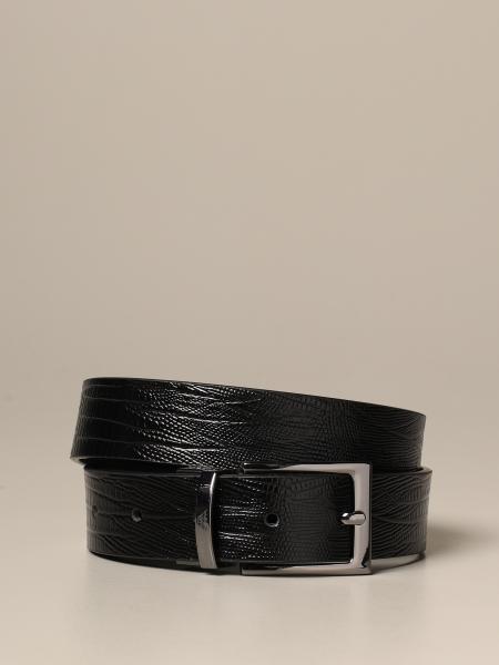 Cintura reversibile Emporio Armani in vitello con stampa rettile