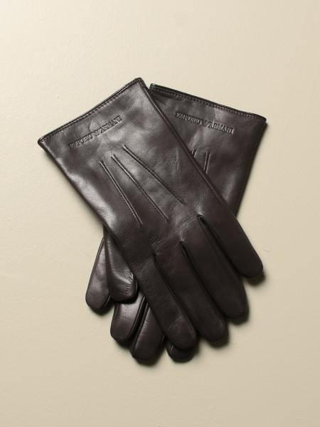 Emporio Armani gloves in leather with logo