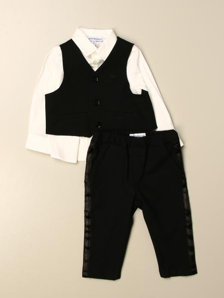 Emporio Armani kids: Emporio Armani Vest + shirt + pants set in wool