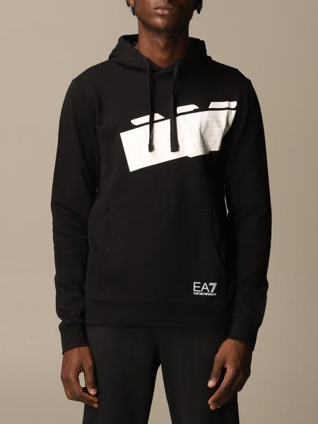 Ea7 men: EA7 sweatshirt with hood and logo