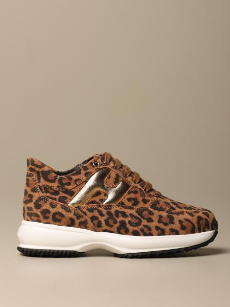 Interactive Hogan leopard split leather sneakers with rounded H