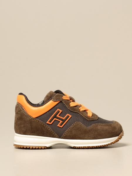 Hogan Baby Interactive sneakers in split leather and mesh
