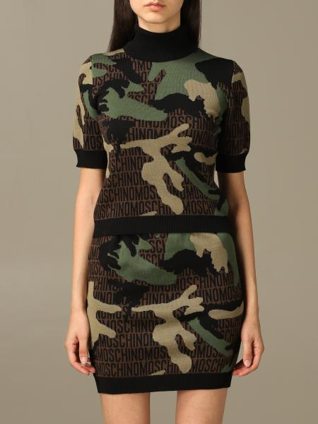 Moschino Couture camouflage wool sweater with logo all over