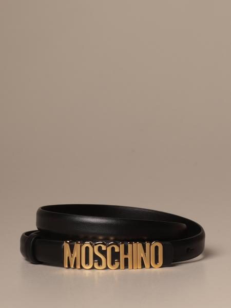 Moschino Couture leather belt with lettering buckle