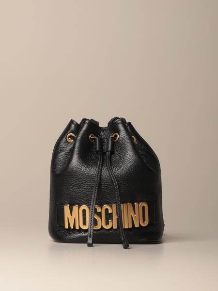 Moschino Couture bucket bag in leather with logo