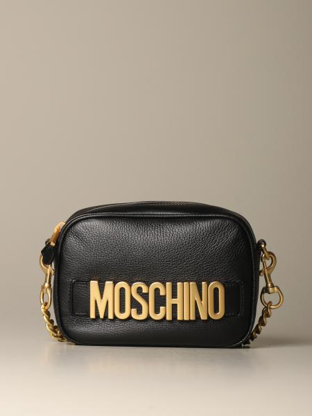 Moschino Couture leather camera bag with logo