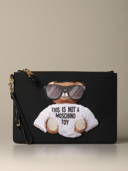 Moschino Couture nylon clutch with Teddy
