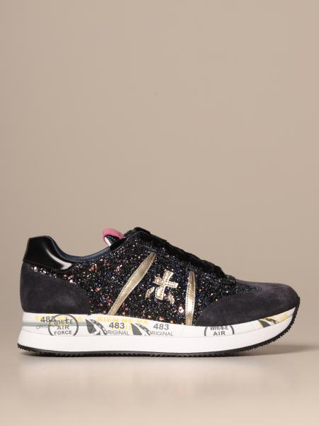 Conny Premiata sneakers in suede and leather with sequins