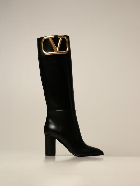 Valentino Garavani leather boot with VLogo