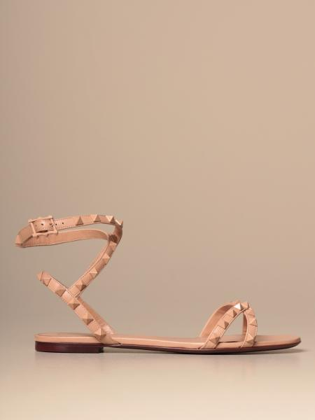 Valentino Garavani Rockstud flat sandal in leather with studs