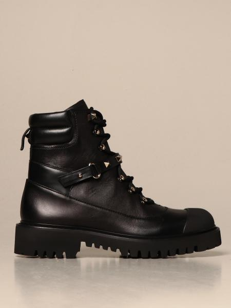 Valentino Garavani Rockstud combat boots in leather