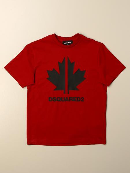 T-shirt Dsquared2 Junior in cotone con logo foglia d'acero