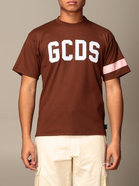 Gcds men: GCDS cotton T-shirt with logo and band