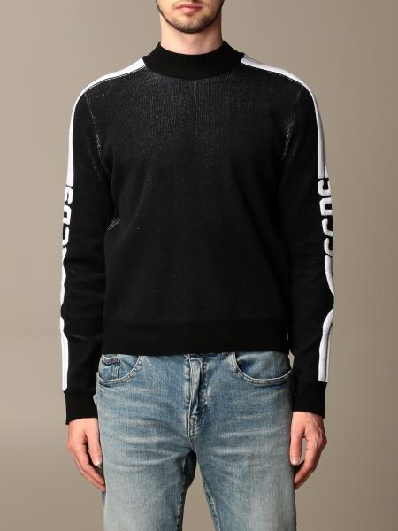 Gcds men: GCDS sweatshirt in stretch wool blend with logoed bands