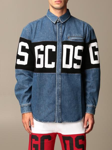 Gcds men: GCDS denim shirt with logo
