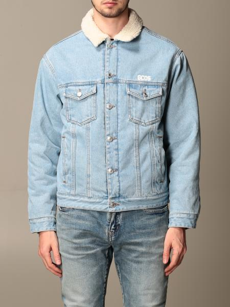 Gcds men: GCDS denim jacket with faux fur collar