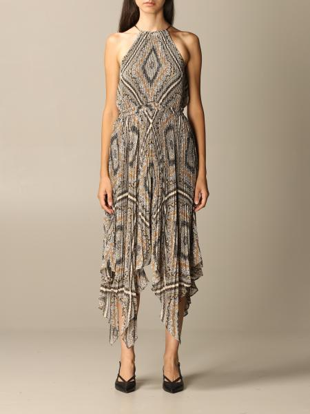 Michael Kors women: Michael Michael Kors long pleated dress with pattern