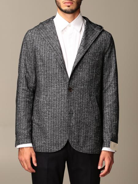 Eleventy: Eleventy jacket in houndstooth boiled wool with hood